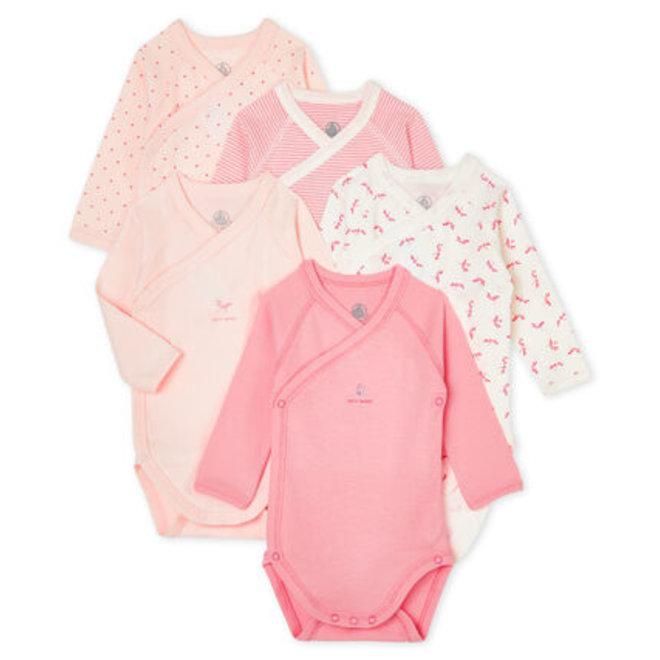 Newborn Babies' Long-Sleeved 5Pc Bodysuit Pink DragonFly