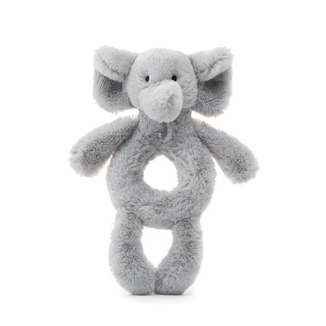 Bashful Grey Elephant Ring Rattle
