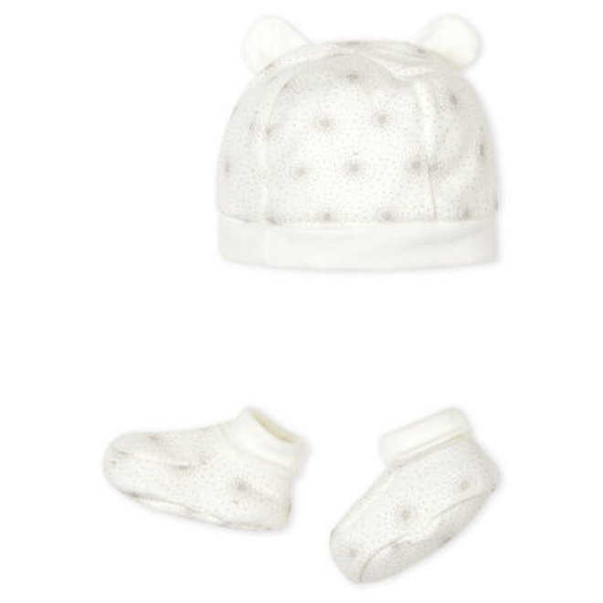 Baby Bonnet and Bootees Set in Tube Knit
