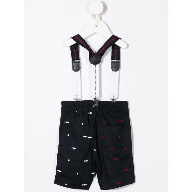 Lapinhouse Suspender Shark Printed Shorts