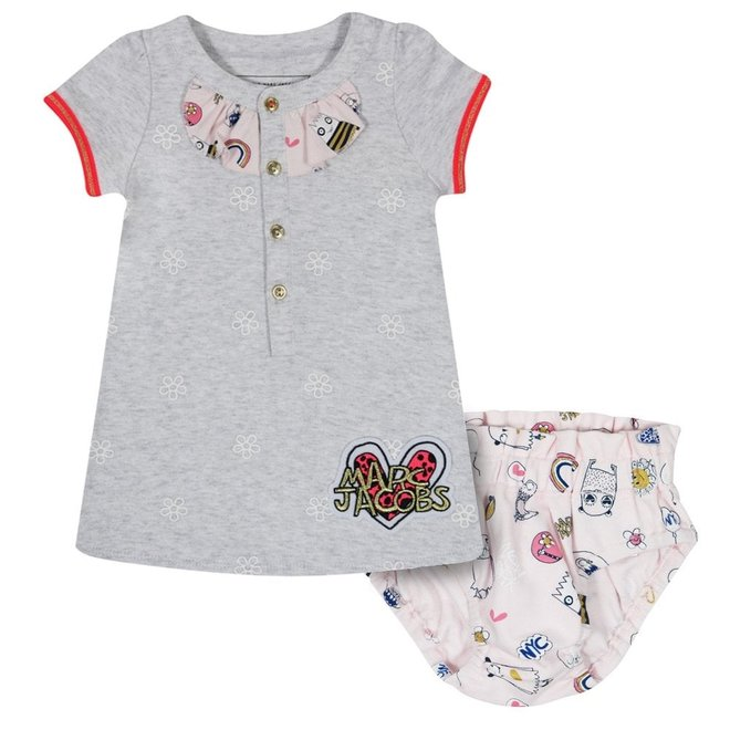 LITTLE MARC JACOBS DRESS+BLOOMERS SET Light Gray China