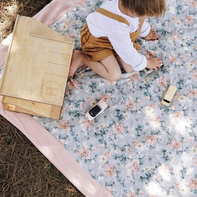 PICNIC BLANKET XL - YOGA CANDY SLOTHS - POWDER PINK