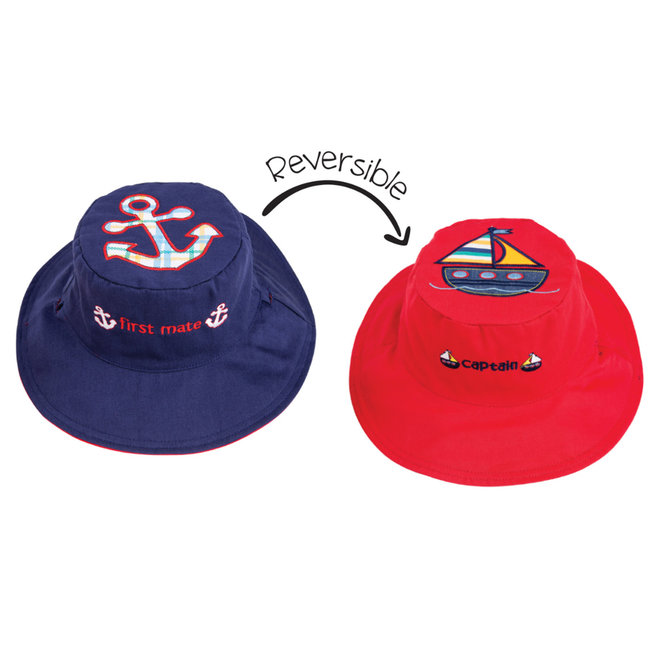Kids Sun Hat - Anchor/Sailboat