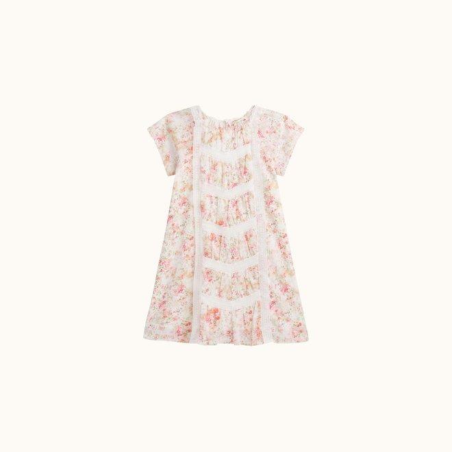 GIRLS' LIBERTY PRINT PAYSANNE DRESS PINK FLOWERS