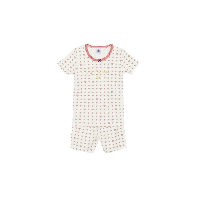 Girls'S Pyajama Short Sleeve-Hearts