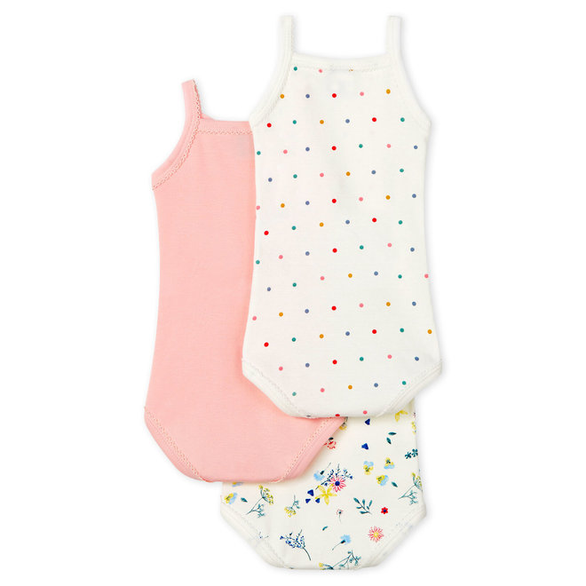 Baby Girls' Bodysuits With Straps - 3-Piece Set