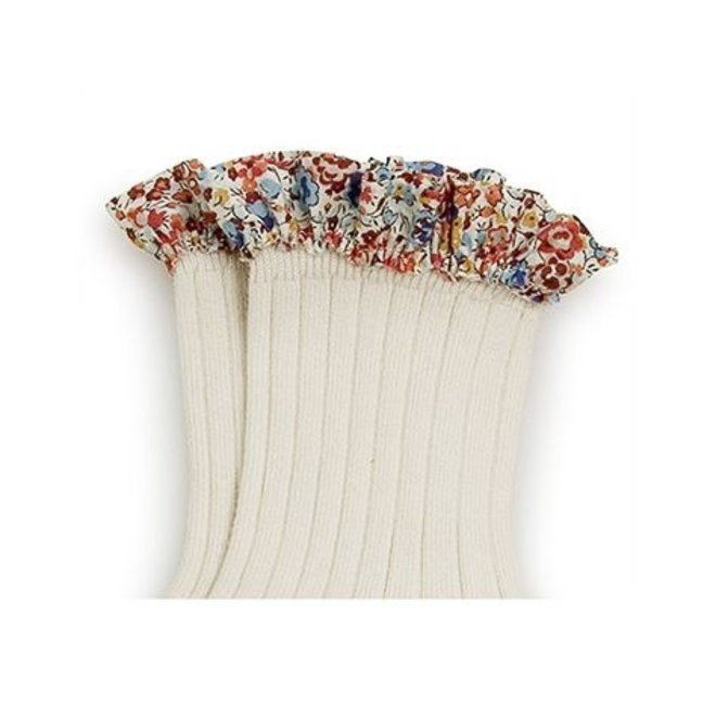 Chaussettes Charlotte courtes avec galon liberty - white