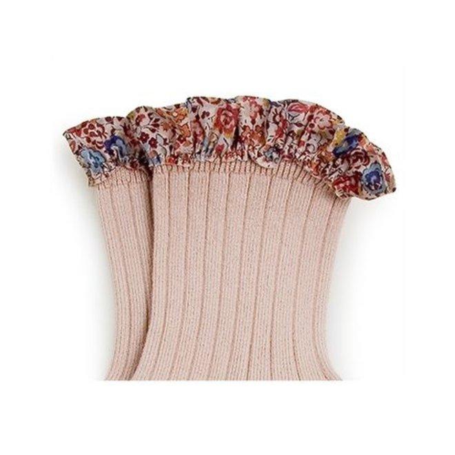 Chaussettes Charlotte avec galon liberty courtes Vieux Rose - pink