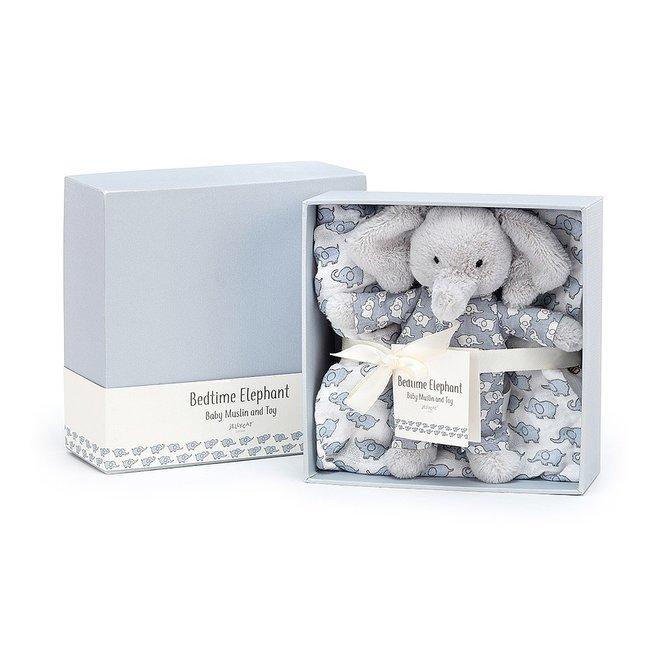 Bedtime Elephant Muslin & Toy Gift Set