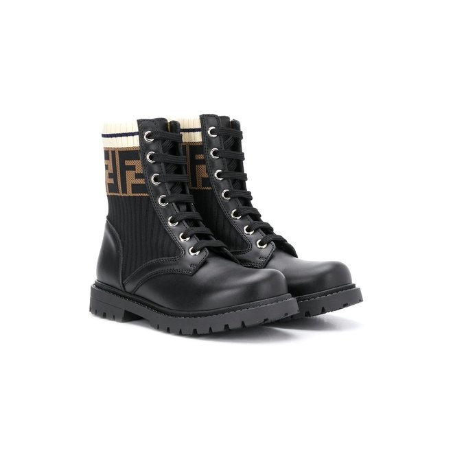 FENDI LACE UP BOOT WITH ANKLE LOGO DETAIL