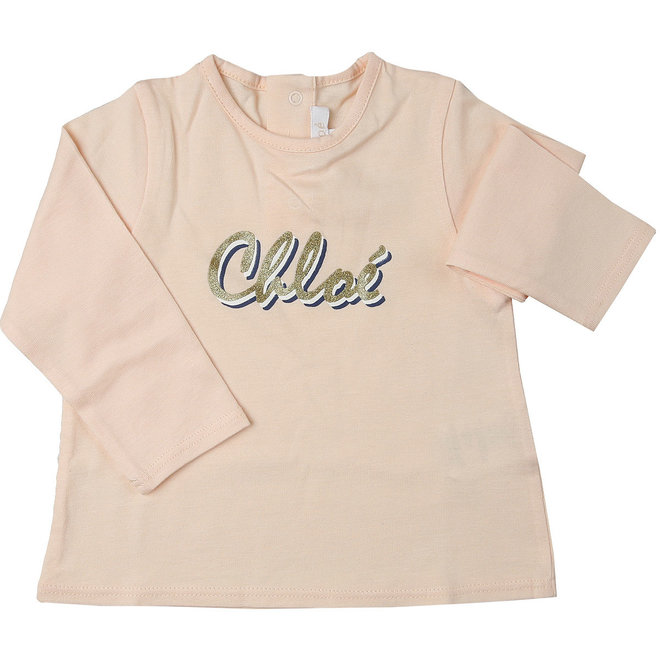 Chloe Chloe White Cotton Logo Top T-Shirt