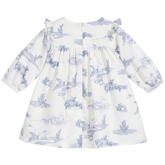 Chloe Chloe White & Blue Cotton Dress
