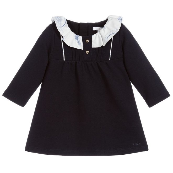 Chloe Ruffled-Collar Cotton Dress Navy