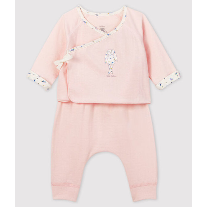 Baby Girl'S Pink Tube-Knit Gift Set