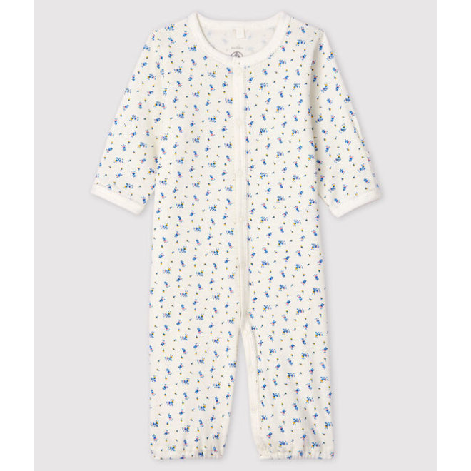 Baby Girls' Floral Print Ribbed Jumpsuit/Sleeping Bag