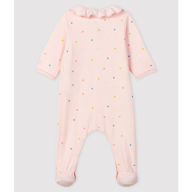 Baby Girls' Tube Knit Pink Sleepsuit With Hearts