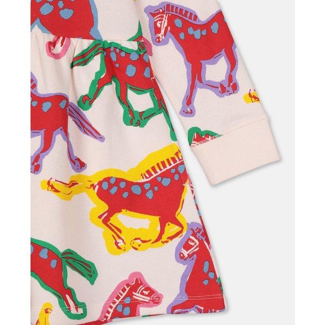 Kid Girl Painted Horse Sweatshirt Dress