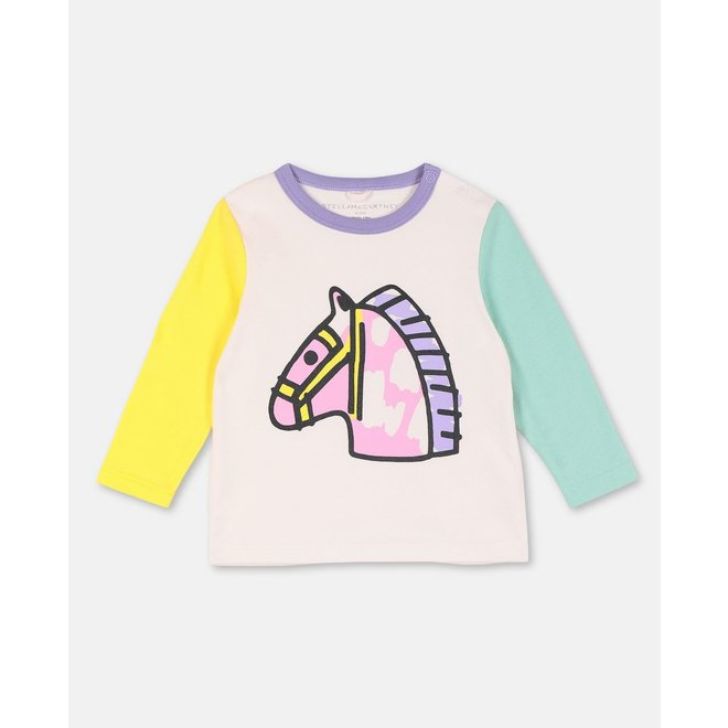 Baby Girl Ls Colorblock Baby Horse Tee Early