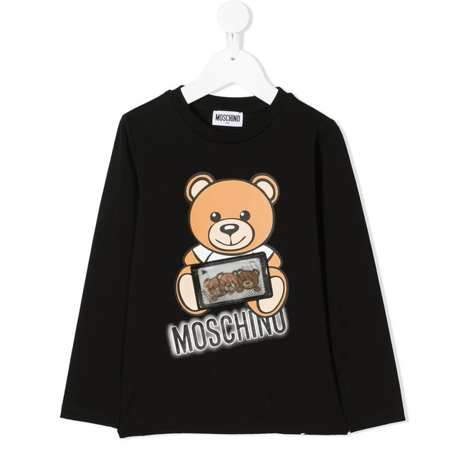 Ls Tee Shirt With Large Bear And Patch Details Black