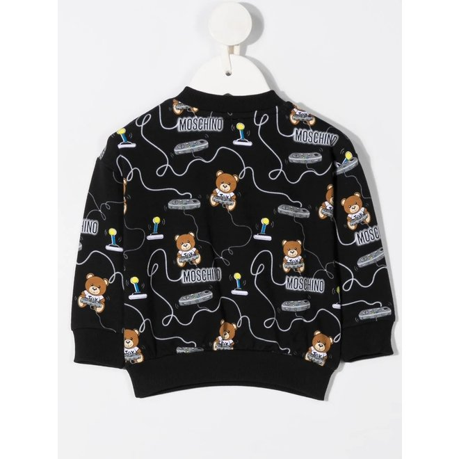 Boys Sweatshirt Allover Joy Stick Print Black