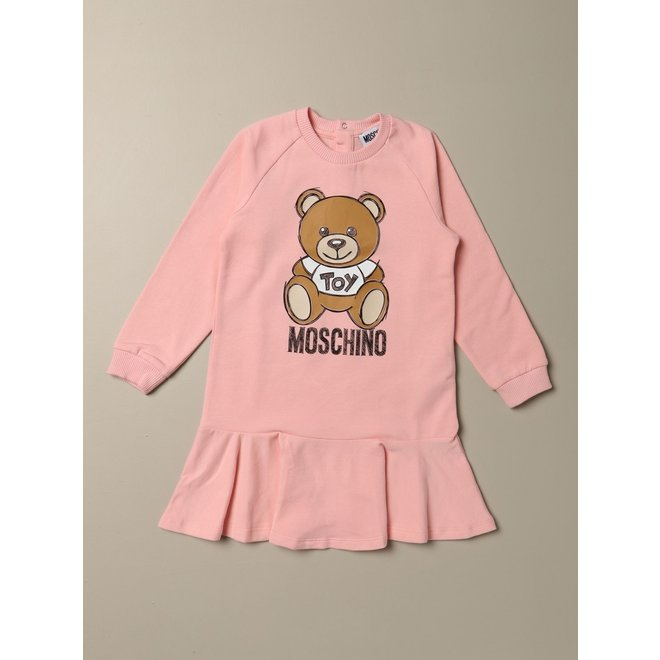Ls Dress With Large Bear And Logo Graphic-pink