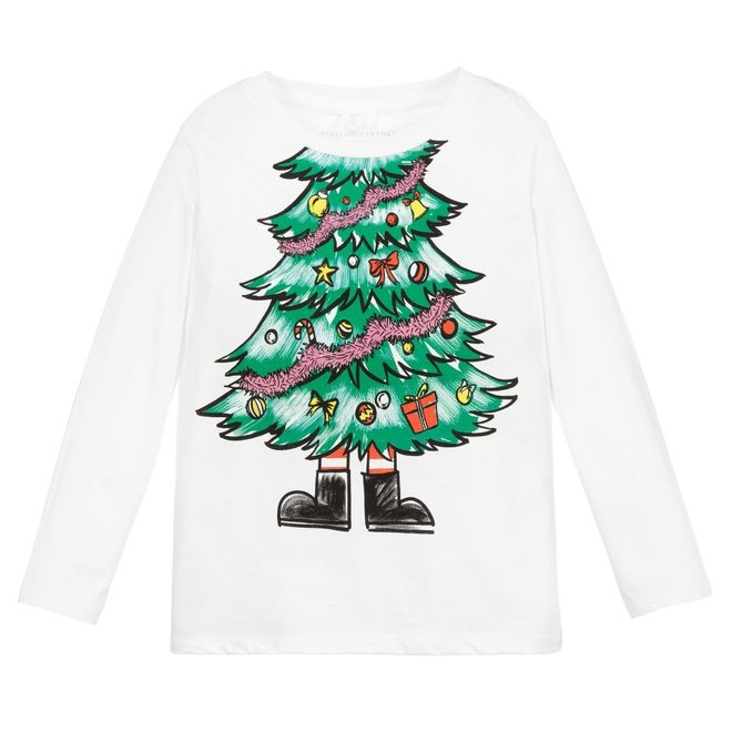 Kid Girl Ls Xmas Tree Tee White