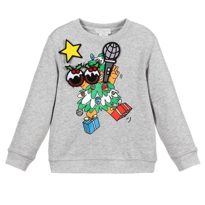 Kid Girl Funny Face Xmas Sweatshirt Grey