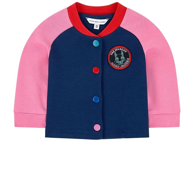 LMJ Colour-Blocked Buttoned Bomber Jacket Navy/Pink