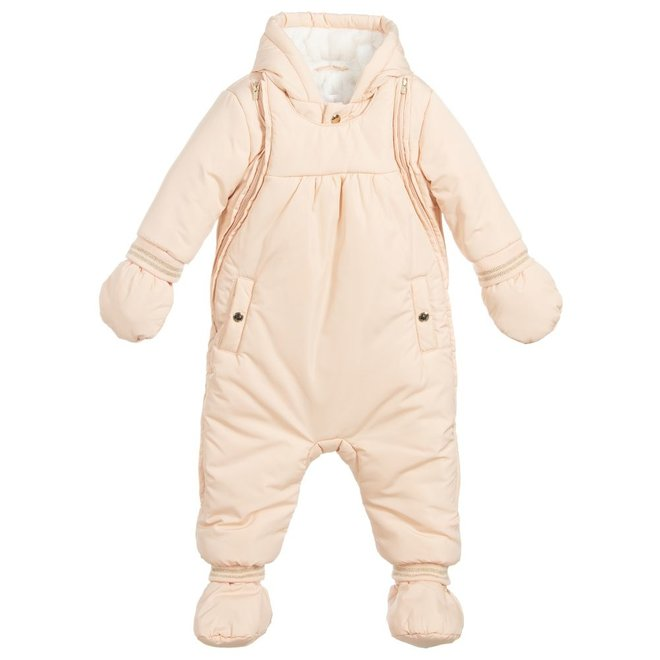 Chloé Padded Jumpsuit With A False Fur Lining Pink