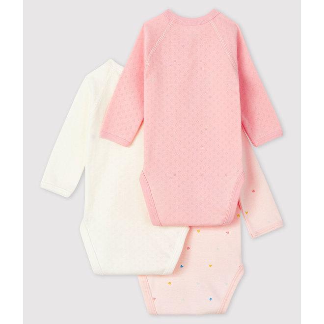 Newborn Babies' Long-Sleeved Bodysuit - 3-Pack Pink Heart