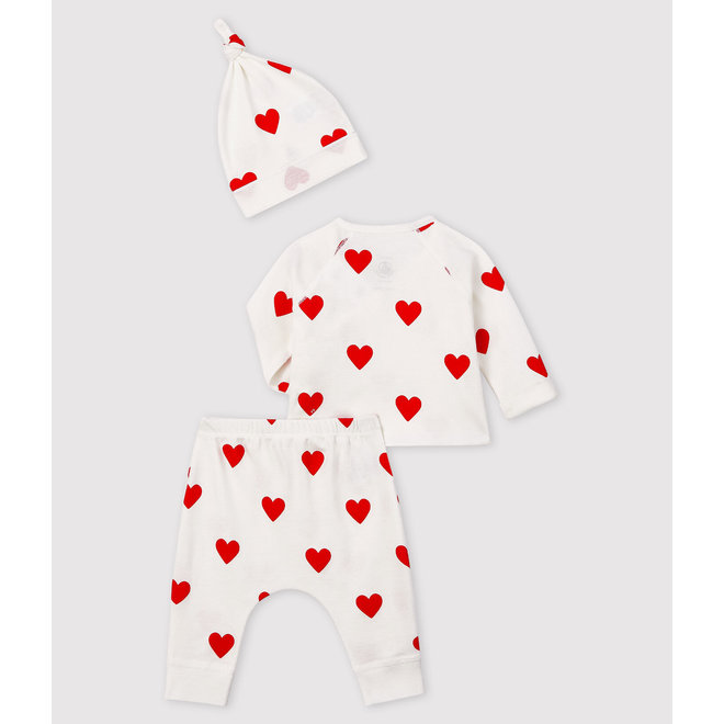 Baby girl's red hearts rib-knit gift set 2020ver