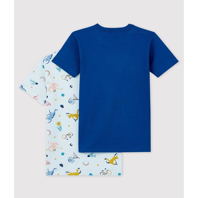 Boys' Short-Sleeved Yoga Animals T-Shirt - 2-Piece Set blue