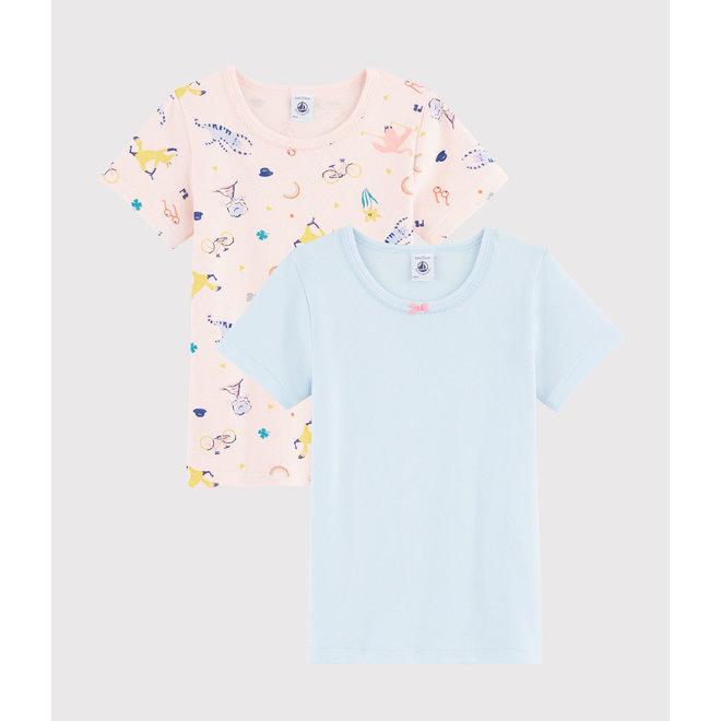 Girls' Short-Sleeved Yoga Animals T-Shirt - 2-Piece Set pink