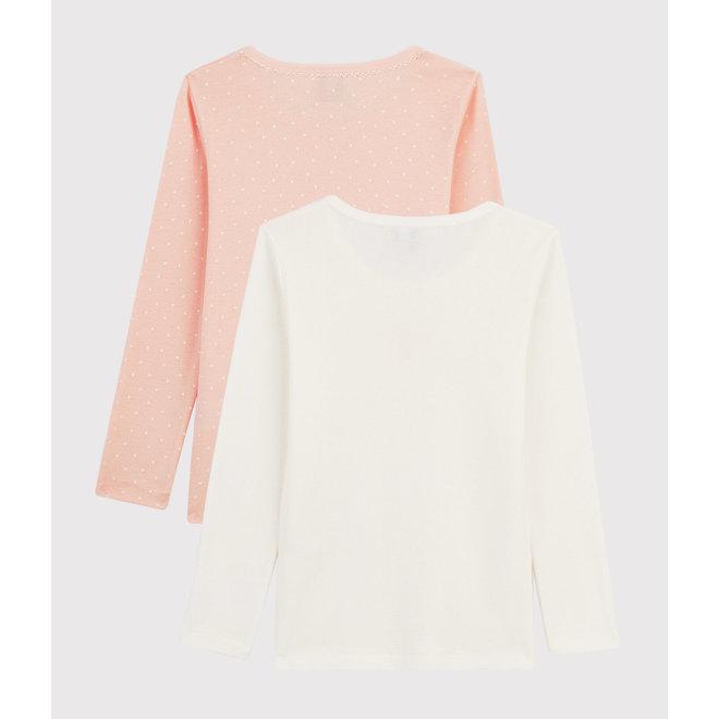 Girls' Long-sleeved Heart T-Shirt - 2-Piece Set Pink Hearts