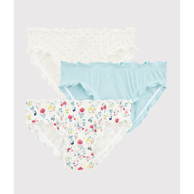 Girls' Floral Print Ruffled Knickers - 3-Piece Set
