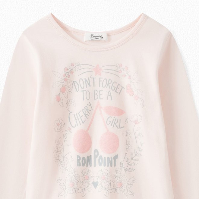 GIRLS' LONG-SLEEVED T-SHIRT PALE PINK