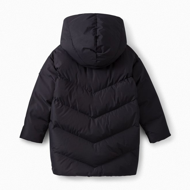 GIRLS' LONGLINE HOODED PUFFER JACKET NAVY