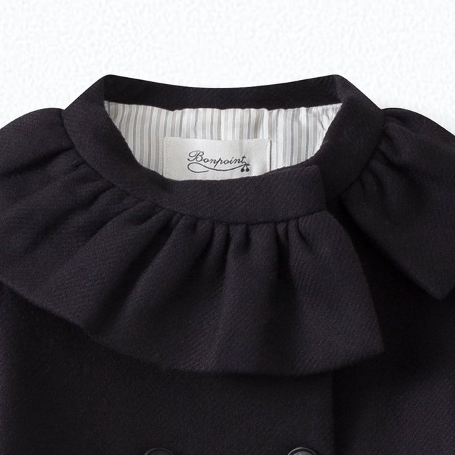 GIRLS' WOOL CLOTH COAT NAVY