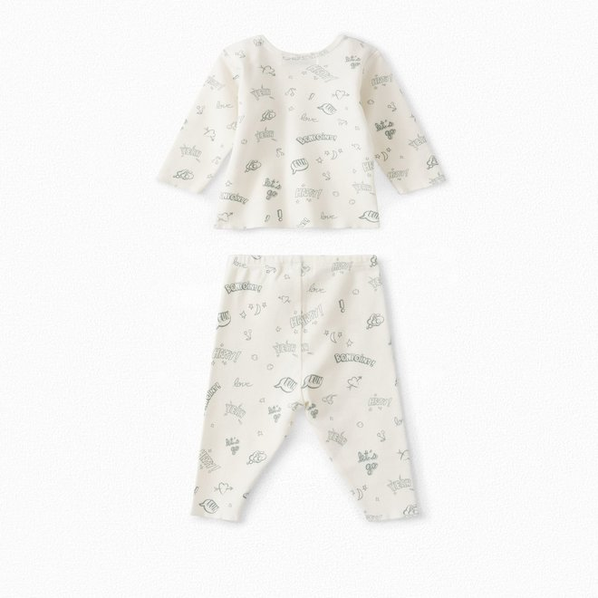 BABY PRINTED SET MILK WHITE
