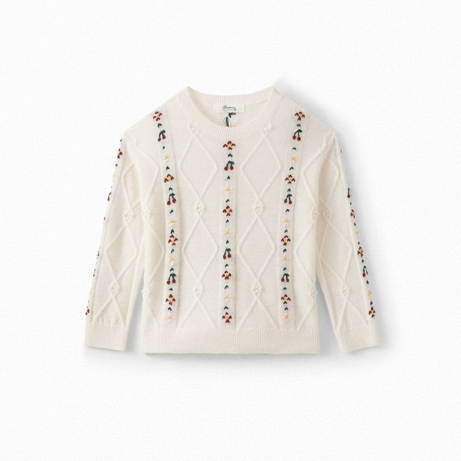 GIRLS' WOOL AND ALPACA CABLE KNIT SWEATER MILK WHITE