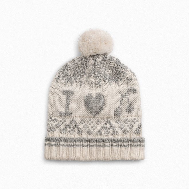 GIRLS' POMPOM HAT LIGHT HEATHERED GRAY