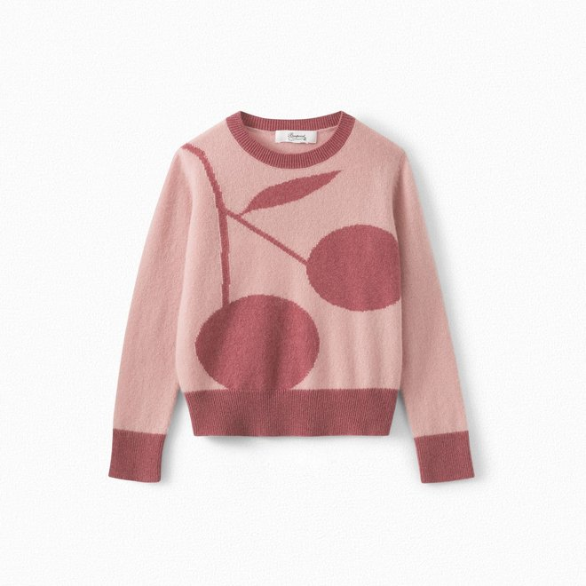 GIRLS' CASHMERE SWEATER WITH GIANT CHERRIES FADED PINK