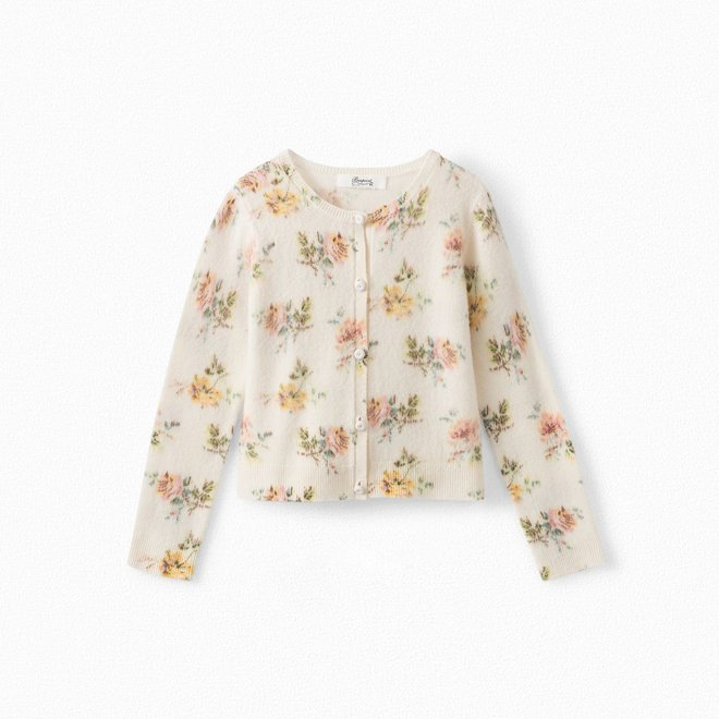 GIRLS' PRINTED CASHMERE CARDIGAN WHITE