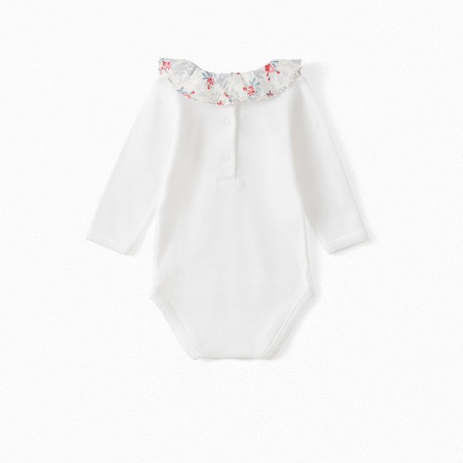 BABY ORGANIC COTTON ONESIE WITH LIBERTY FABRIC COLLAR NATURAL WHITE