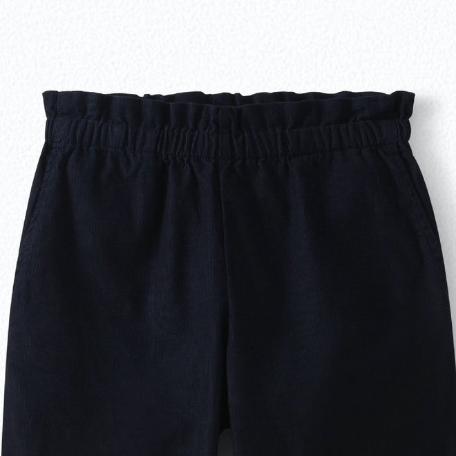 GIRLS' CORDUROY CARROT PANTS NAVY