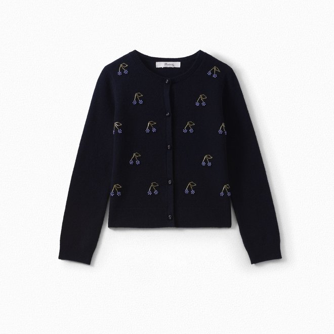 GIRLS' EMBROIDERED CARDIGAN NAVY