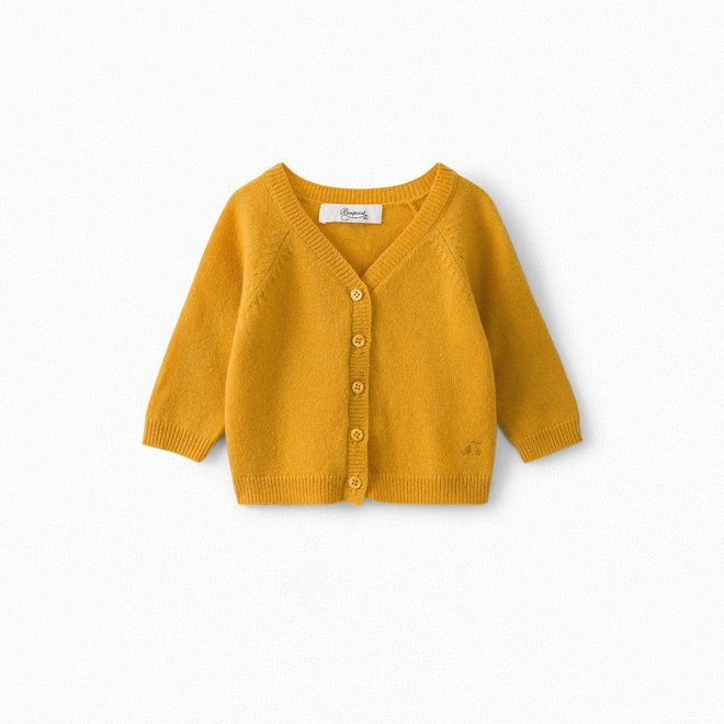 BABY MERINO WOOL CARDIGAN WITH ELBOW PATCHES BUTTERCUP YELLOW