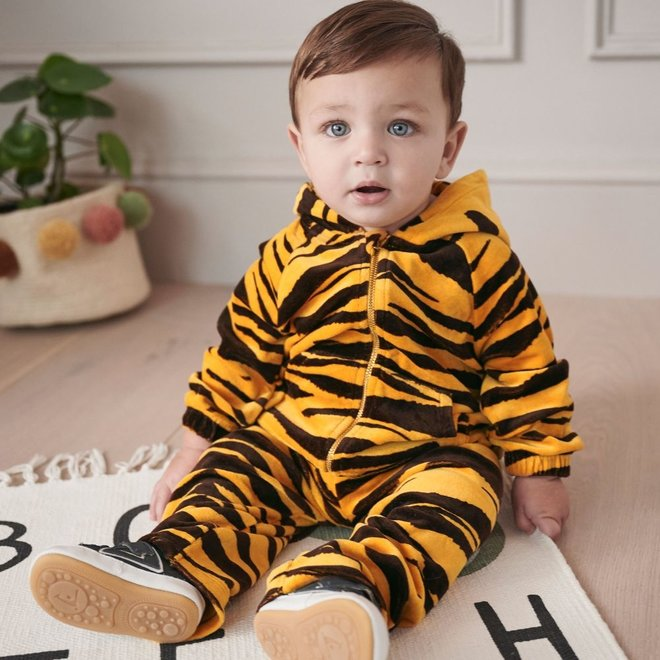 Mini Rodini Tiger Velour Zip Hood Brown