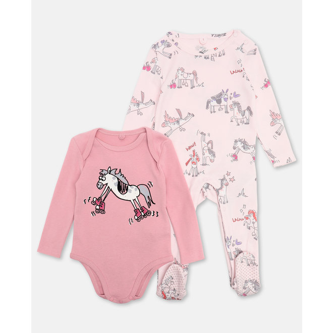 BABY GIRL HORSES DOODLE BODY AND FOOTIE SET