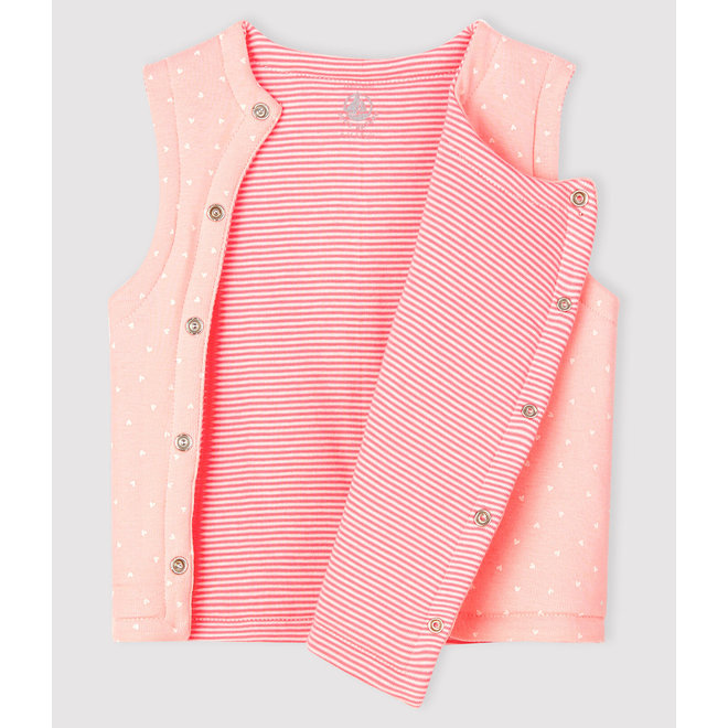 Baby Girls' Reversible Sleeveless Vest in Padded Rib Knit